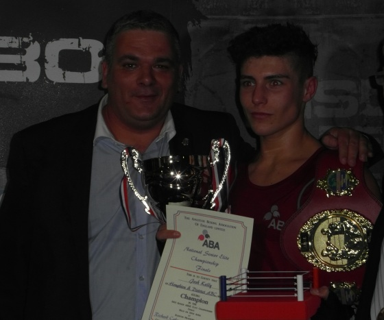 Josh Kelly with his ABAE Elite title and Davey Newth, Director of TTW ABA.